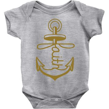 anchored faith Baby Onesuit