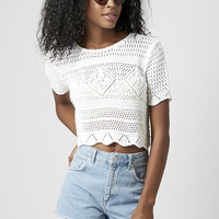PETITE Crochet Stitch Crop Top - Topshop