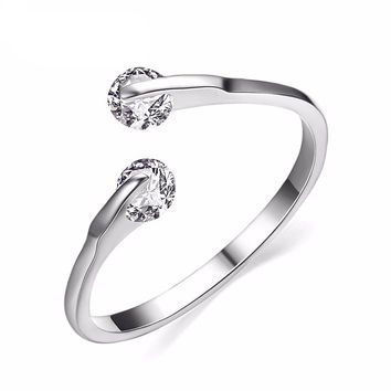 Rose Gold / Platinum Plated Two Stone Ring With AAA CZ