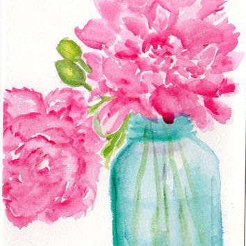 Pretty Pink  Peonies in Aqua Canning Jar Floral by SharonFosterArt