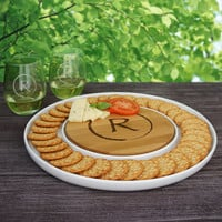 "Family Monogram Personalized Bamboo Cutting Board & Ceramic Serving Platter Combo (13"" Diameter)"