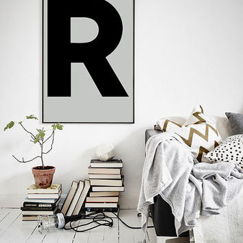 "Uppercase Letter R Print, Scandinavian Design Typography Poster Roman Letter 70x100, 50x70, 24x36"", A4"
