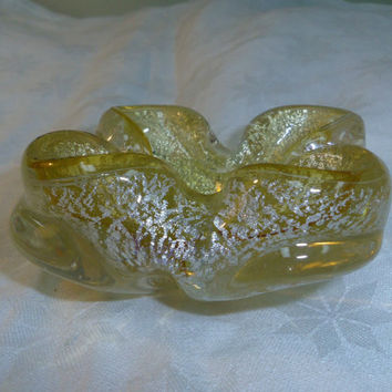 "Murano Art Glass Ashtray Yellow with Silver Flecks 4.5"" wide x 1.75"" tall"
