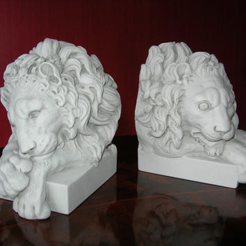 CHATSWORTH LION BOOKENDS - decorative marble book-ends.