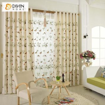 DIHIN Home Linen Cloth Embroidered Pastoral Butterfly Blackout Curtains Living Room Curtain and Drapes Curtain Panels