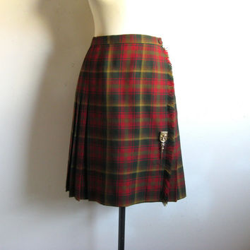 Vintage 1980s Wrap Kilt Red Green Maple Leaf Tartan Wool Plaid Skirt 14