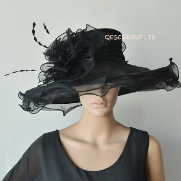 New Design.X large Black Dress Organza Hats Church Hats for kentucky derby,wedding,races,party,FREE SHIPPING