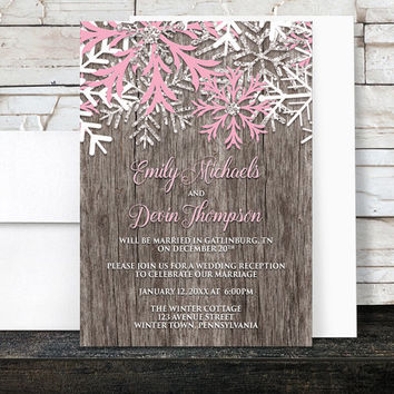 Rustic Winter Reception Only Invitations - Country Winter Wood Pink Snowflake - Snowflake Post Wedding Reception Invitations - Printed