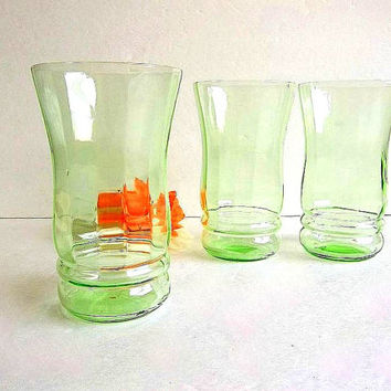 Vintage Three Green Depression Glass tumblers paneled drinking glasses set of 3 antique 1920's pale green depression glasses tall tumblers