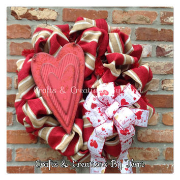 Valentine's Day Wreath - Love Wreath - Heart Wreath - Burlap Wreath - Valentine's Day Decor - Door Decor - Ready To Ship