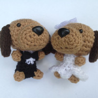 SALE / Wedding Dachshund Amigurumi Dogs Handmade Crochet Dogs Table Decoration Wedding Dress Tuxedo