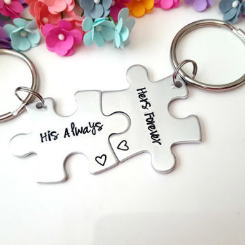 Puzzle Piece Keychains for Couples, Couples Matching, Keychains, His and Hers, Puzzle Piece Anniversary, Trending Items, Gifts Under 30