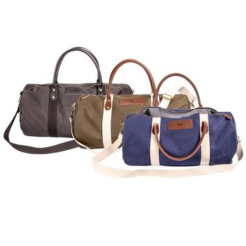 Luggage Bags - Elegant Canvas & Leather Weekender Bag with Personalization Options