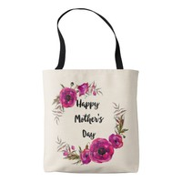 Fuchsia Poppies Floral Wreath Happy Mother's Day Tote Bag