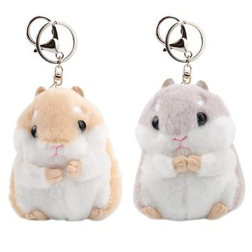 11cm Cute Plush Hamster Pendant Key Chain Toy Stuffed Soft Animal Plush Toys Kawaii Key Chain Girl's Bag Pendant Plush Gifts