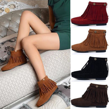 Flat Fringed Faux Suede Boots