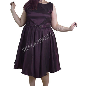 Plus Size 60's Vintage Design Purple Satin Flare Swing Dress