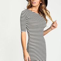 IVORY STRIPED KNIT MIDI DRESS