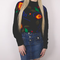 Vintage Dark Floral Appliqué Sweater