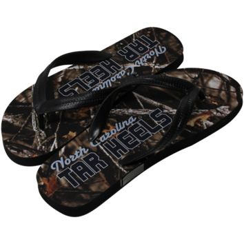 North Carolina Tar Heels :UNC: Camo Print Flip Flops - Black/Forest Camo