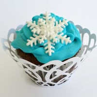 24 Edible Fondant Snowflakes Cake Cupcake Toppers, Frozen Party Decor, Christmas Cupcake, Winter Birthday Baby Bridal Shower Wedding Toppers