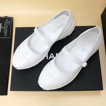 CHANEL 2018 summer new breathable versatile flat bottom low top casual shoes F-OMDP-GD White