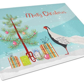 Silver Pheasant Christmas Glass Cutting Board Large BB9296LCB