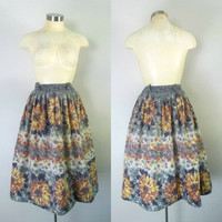 1940s 1950s Sunflower Cotton Skirt Full With Metal Zipper