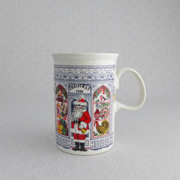 Christmas Mug, Vintage 1986, Dunoon Ceramics, Made in Scotland, Santa Claus, Holiday Window Displays, White Navy Blue Red, Xmas Shopping Cup