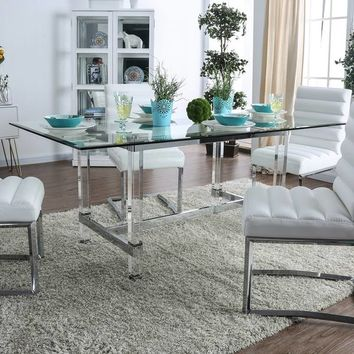 LaReve Acrylic & Glass Dining Table by FOA - Chrome | Overstock.com Shopping - The Best Deals on Dining Tables