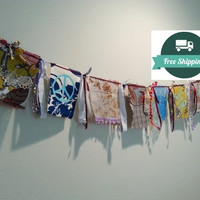 Hippie Festival Flags Banner, Long 6' Prayer Flags, Peace Bohemian Gypsy, FREE US Shipping