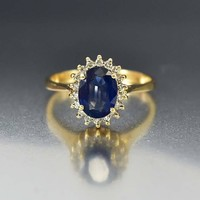 Estate Sapphire and Diamond Halo Engagement Ring