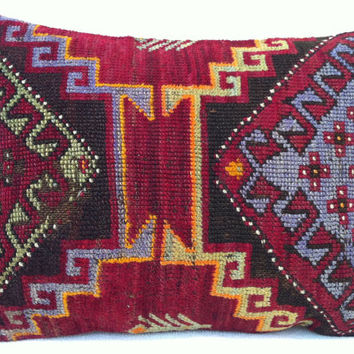 Hand Woven Old Turkish Rug Pillow - Modern Bohemian Home Decor  - Decorative Pillow - Kilim  Pillow  22 x 16 Inch - FAST SHIPMENT