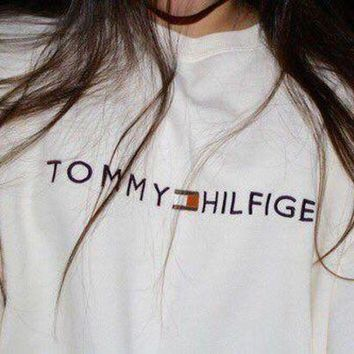 Tommy Hilfiger Fashion Casual Long Sleeve Sport Top Sweater Pullover Sweatshirt I