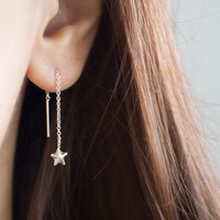 Star Threader, Silver Chain Earring, Long Earrings, Ear Threaders, Star Earrings, Thread Earrings, Silver Thread Earrings