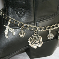 Big Rose Crossed Pistols Cowgirl Boot Bracelet, Antique Silver Cowgirl Statement Choker, Guns And Roses Western Cowgirl Boot Bling Jewelry