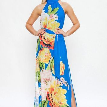 Maxi dress with floral print and optional self tie belt