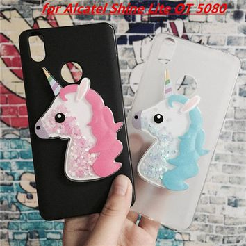 3D Unicorn Quicksand Liquid Soft Silicone Case for Alcatel Shine Lite OT 5080 Phone Cover Funda Para