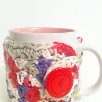 Coffee Cup Cozy, Crochet Red Purple Tea Cup Cozy, Eco Friendly Reusable, Ready to Ship - Free Shipping