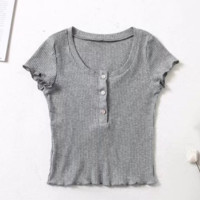 FREE SHIPPING  Spring clothing new style slim - fitting front of the front of the front fastening wooden ear side short - sleeve T-shirt