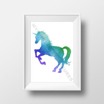Unicorn Art, Animal Silhouette, Watercolor , Little Pony, Fantasy Theme Nursery, Digital Download, Fairy Tale Decoration, Printable Wall Art