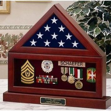 Flag Display Case , Flag Medal and Base Hand Made By Veterans