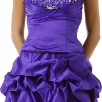 ON SPECIAL - LIMITED STOCK - Short Purple Bubble Skirt Party Dress Sequin Ruch Satin Above Knee