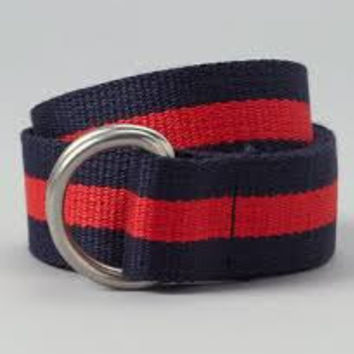 Adult Navy and Red Striped D ring Webbing Belt