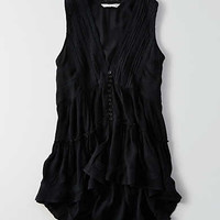 AEO Button Front Tunic Top , True Black