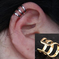 Punk Rock Ear Clip Cuff Wrap Earrings No piercing-Clip On,3 Colors,Silver Gold Bronze = 1958388420