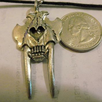 bling pewter saber tooth tiger skull monster ancient gothic celtic druid pagan myth fantasy stonehenge mystical magic beast devil pendant charm leather 30 inch cord necklace jewelry hip hop