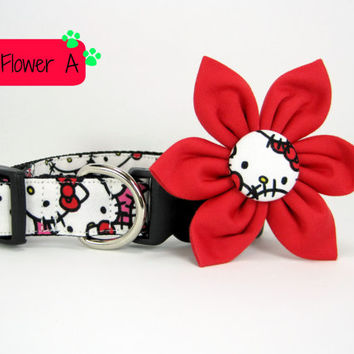 Dog Collar with Flower set- Hello Kitty Dog Collar and flower set ((Mini,X-Small,Small,Medium ,Large or X-Large Size)- Adjustable