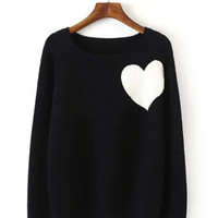 Cropped Knit Heart Sweater