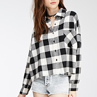 Boxy Gingham Button-Down Shirt